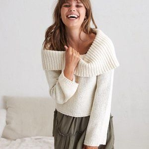 AERIE Bell Sleeve Off-the-shoulder Sweater XS